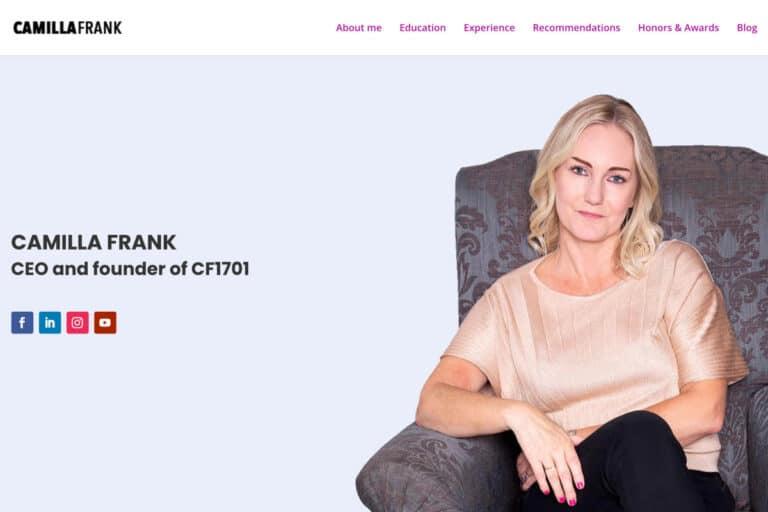 Camilla Frank har begge sites som wordpress hjemmesider