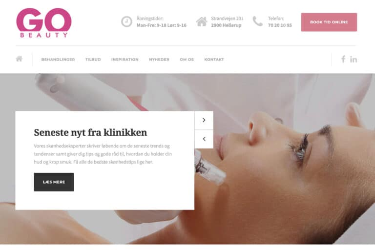 Billig wordpress hjemmeside for lokal skønhedsklinik i Hellerup nord for København